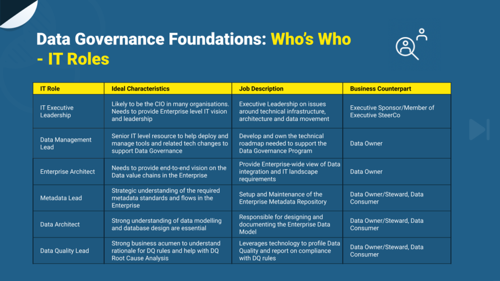 IT roles in data management and governance
